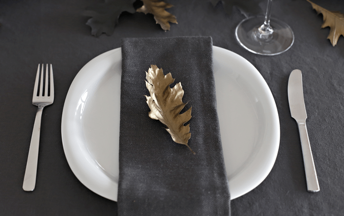 Gold leaf_halloween table setting