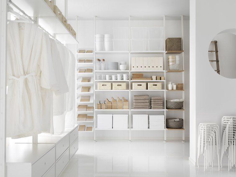 IKEA_ELVARI_4sektioner_hyllor_skohyllor_vit_bambu