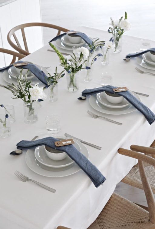 White and blue table setting