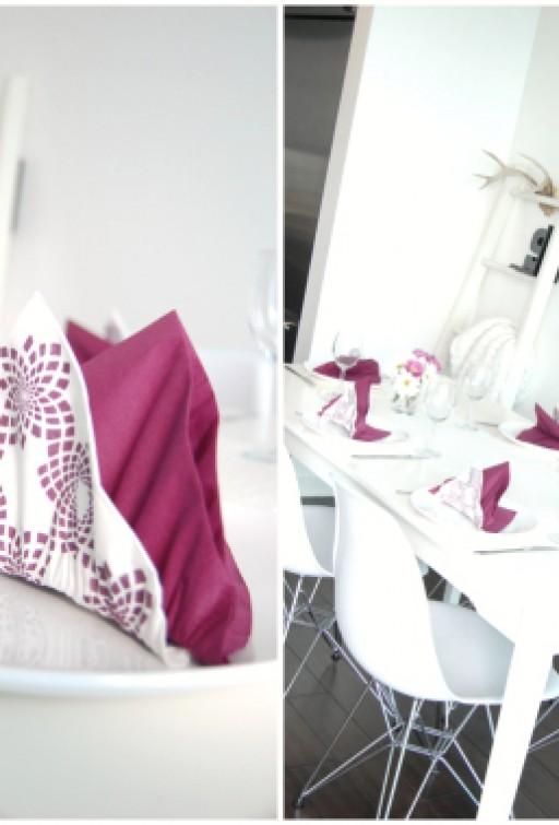 Table setting in purple