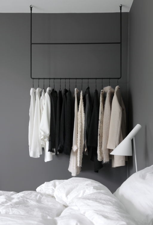 Clothing rail in the bedroom