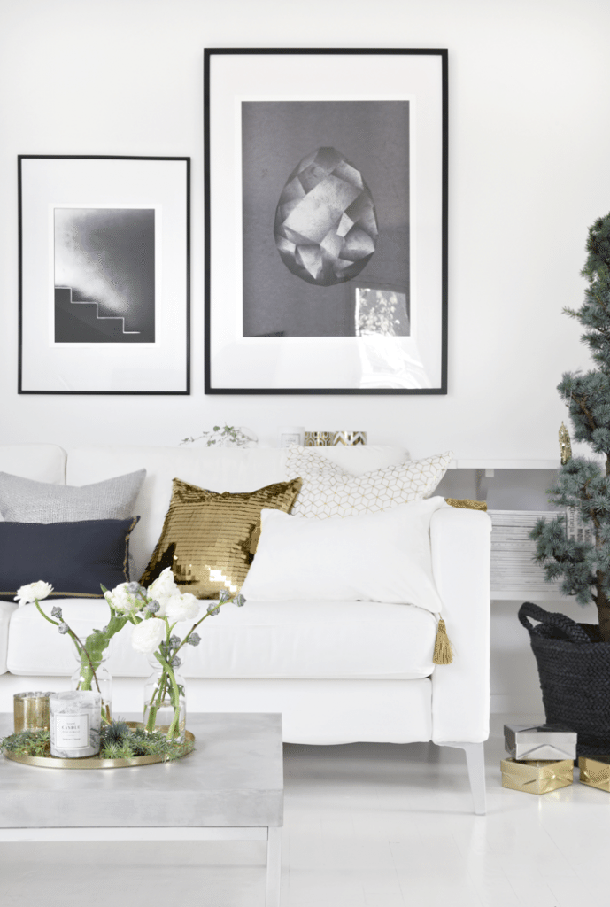 White and Gold Living Room Decor